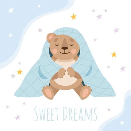 Sleeping teddy bear in a blanket. Cute animals for nursery.