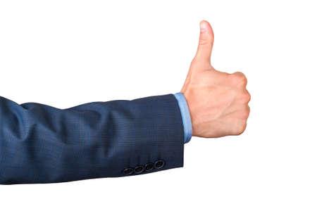 tumb: human hand tumb. Isolated on white background