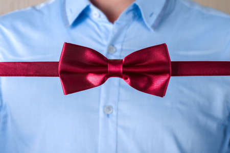 lapel: Red bow tie