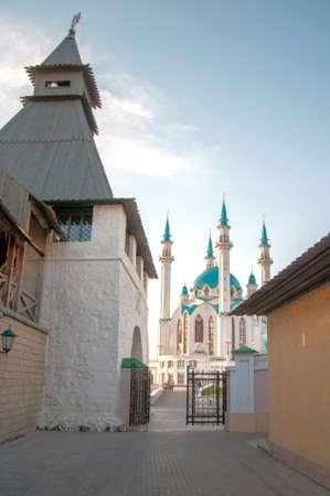 intresting: Intresting view of the Kul Sharif Qolsherif, Kol Sharif, Qol Sharif, Qolsarif Mosque in Kazan Kremlin. Main Jama Masjid in Kazan and Republic of Tatarstan. One of the largest mosques in Russia.  Kazan, Tatarstan, Russia.
