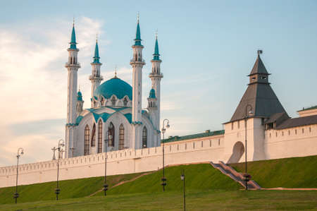 Intresting view of the Kul Sharif Qolsherif, Kol Sharif, Qol Sharif, Qolsarif Mosque in Kazan Kremlin. Main Jama Masjid in Kazan and Republic of Tatarstan. One of the largest mosques in Russia.  Kazan, Tatarstan, Russia.
