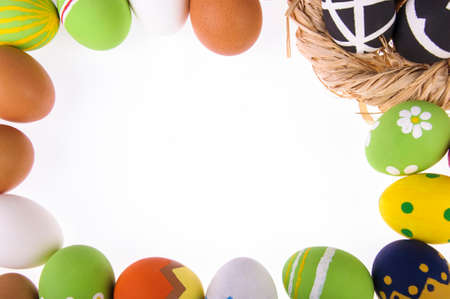 Easter eggs on a white background Stock Photo