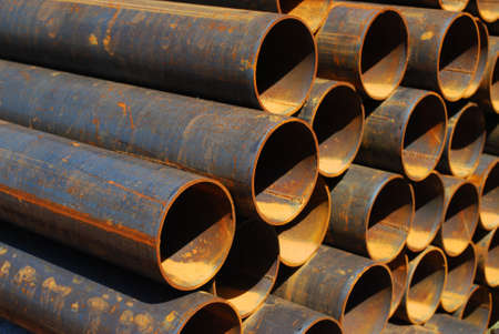 commodities: Steel pipes for mechanical engineering Stock Photo