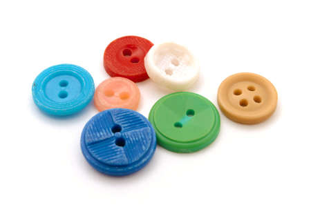 Isolated coloured buttons on white background Stock Photo