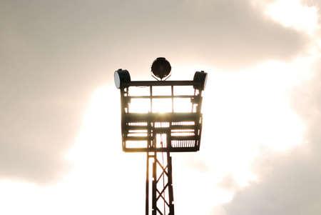bulwark: Bulwark tower with searchlights on light sky