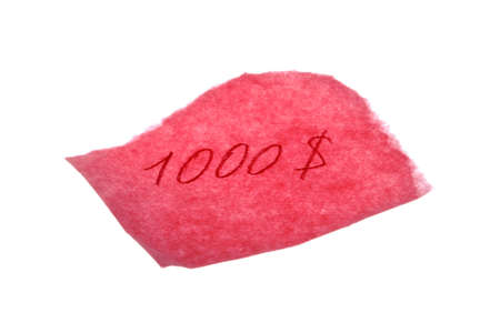 A piece of pink paper with a $1000 written in red for an IOU