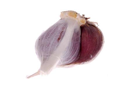 Close up of garlic bulb, isolated on white background