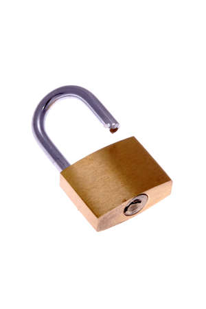 Close up of open padlock, isolated on white background