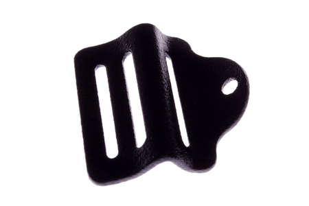 A view of a black clamp used for strap, isolated on a white background Stock Photo