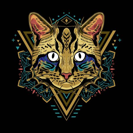 Cool Cat Vector Mandala Geometry Illustration in Black Background for T-Shirt Graphics, Hoodies, Tank Tops, Mugs, Phone Cases, Stickers, Posters etc Reklamní fotografie - 138285418