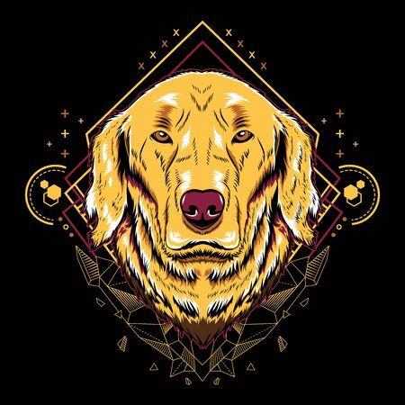Cute Dog Golden Retriever Vector Crystal Geometry Illustration in Black Background for T-Shirt Graphics, Hoodies, Tank Tops, Mugs, Phone Cases, Stickers, Posters etc