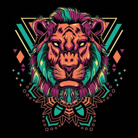 Cool Lion Vector Mandala Geometry Illustration in Black Background for T-Shirt Graphics, Hoodies, Tank Tops, Mugs, Phone Cases, Stickers, Posters etc
