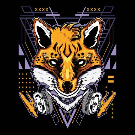 Cool Kitsune Demon Fox with Headphones Techno Geometry Illustration in Black Background for T-Shirt Graphics, Hoodies, Tank Tops, Mugs, Phone Cases, Stickers, Posters etc  イラスト・ベクター素材