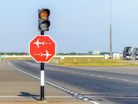 Road sign at the airport photo
