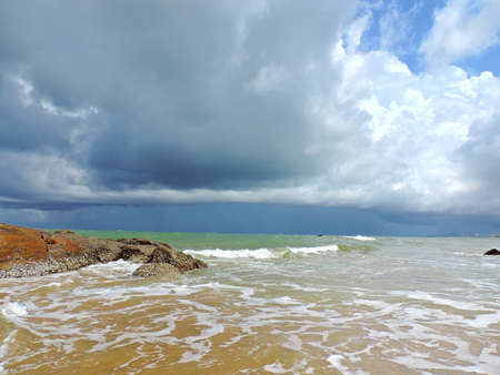 monsoon clouds: Sea side landscape at Mount Lavinia Beach, Colombo with monsoon clouds hovering  above. Stock Photo