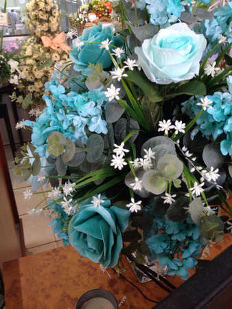 tiffany blue: artificial flower Stock Photo