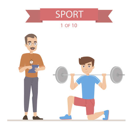result: Athlete trains with a barbell, coach writes the result Illustration
