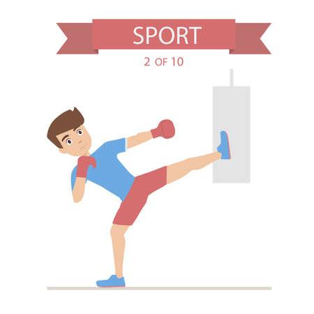 simulator: Athlete boxing punching bag Illustration
