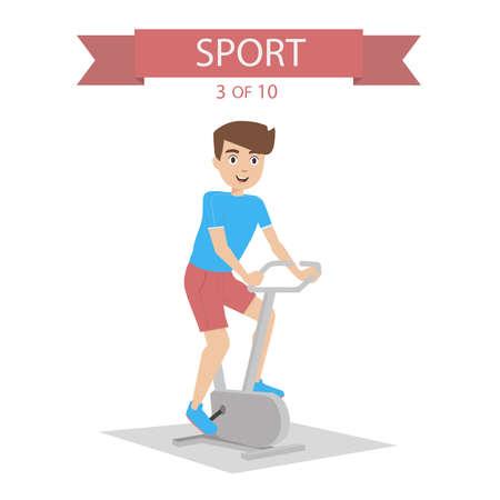 simulator: Athlete swings the legs on the simulator