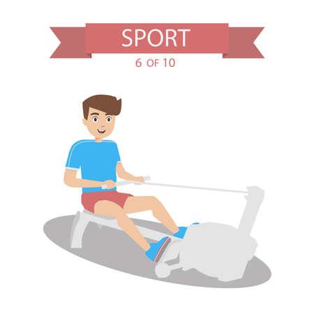 simulator: Athlete swings back in the simulator Illustration