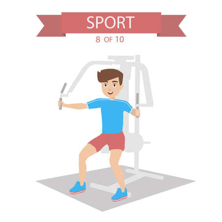 pectoral: Athlete shakes the pectoral muscles on the simulator Illustration