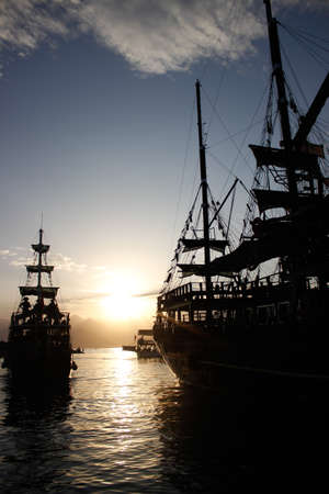 ship silhouette Stock Photo