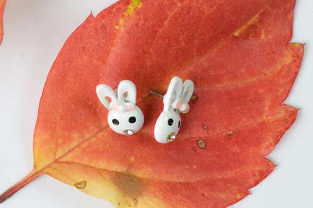 winter leaf: Earrings on a winter leaf