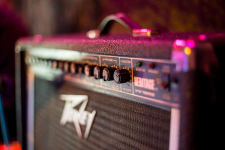 amplify: Close up of electric guitar amplifier