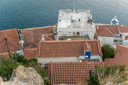 Rooftops from above near the sea in Greece