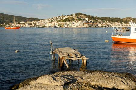 A wooden broken platform in Greece Stock Photo