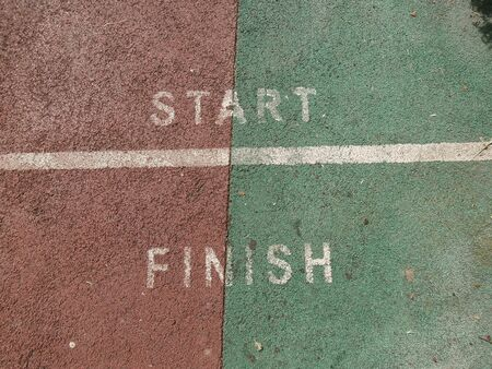 Start and finish line in the running racecourse. 写真素材