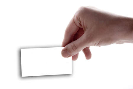 Hand holding a blank white card on a white background photo