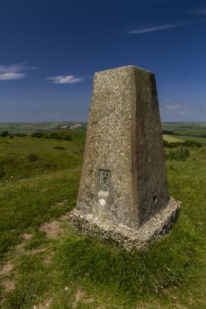 ordinance: Triangulation Point on Abbotsbury Castle ancient earthwork, Abbotsbury, Dorset, England, United Kingdom.