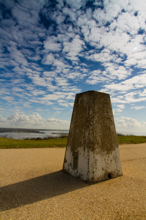 hengistbury: Triangulation Point on Warren Hill, Hengistbury Head, Christchurch, Dorset, England, United Kingdom. Stock Photo