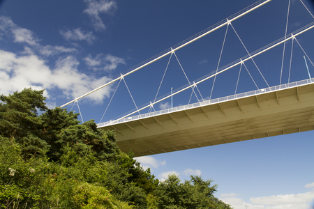 severn: The Severn Bridge (welsh Pont Hafren) crosses from England to Wales across the rivers Severn and Wye. Stock Photo