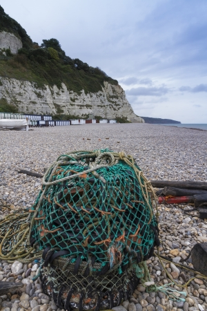 lobster pot: Pebbled beach with Lobster Pot at Beer, Devon, England, United Kingdom