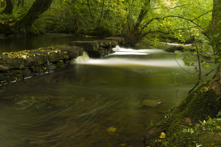 nant: Long exposure of small waterfalls, The Dingle  Nant y Pandy  Llangefni, Anglesey, Wales, United Kingdom