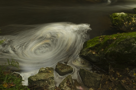 nant: Apparent whirlpool appears in long exposure  The Dingle  Nant y Pandy  Llangefni, Anglesey, Wales, United Kingdom
