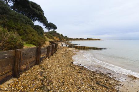 groynes: Sand, pebbles and groynes at Lepe Beach.