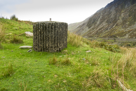nant: Spigot Mortar Emplacement, World War Two defense, Nant Francon Pass, Ogwen Cottage, Gwynedd, Wales, United Kingdom  Stock Photo