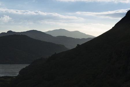 nant: Twilight view of the ,  Nant Gwynant Pass, Snowdonia National Park, Gwynedd, Wales, United Kingdom