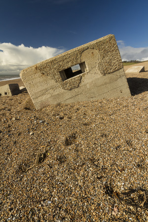 pillbox: Type 26 WWII pillbox at the western end of the Chesil Beach, Abbotsbury, England, United Kingdom, Europe