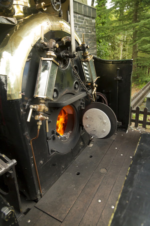 footplate: View into the footplate of narrow gauge locomotive on the Ffestiniog Railway, Gwynedd, Wales  United Kingdom