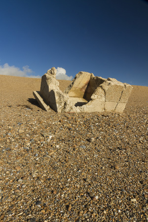 pillbox: Destroyed WWII pillbox at the western end of the Chesil Beach, Abbotsbury, England, United Kingdom, Europe Stock Photo