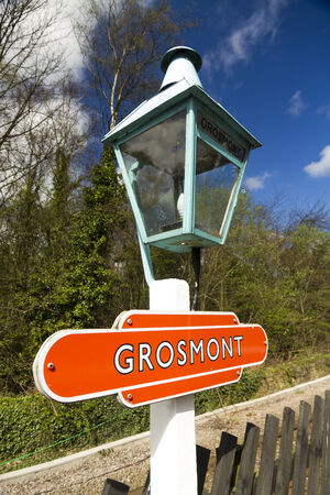 moors: On platform of Grosmont station, North Yorkshire Moors Railway, old lamp post, originally gas, with name Grosmont  Eskdale, Scarborough, North Yorkshire, England, United Kingdom, North Yorkshire Moors  Stock Photo