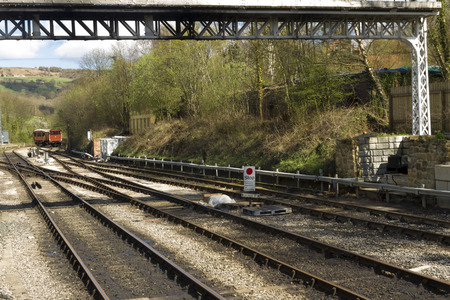 north yorkshire: View down the tracks from platform of Grosmont Railway Station, Eskdale, Scarborough, North Yorkshire, England, United Kingdom, North Yorkshire Moors