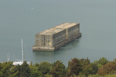 Remaining WWII phoenix caisson in Portland Harbour, Dorset, England