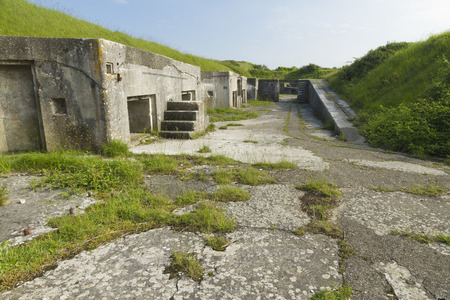 queen victoria: remains of Victorian gun emplacements, re-used in World War Two in Portland, Weymouth, Dorset, England