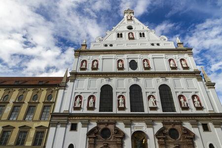 str: Looking up at front of Catholic Jesuit Church of Saint Michael, Neuhauser Str, Munich, Bavaria, Germany, Europe. Stock Photo