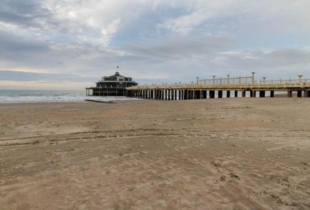 The only pier in Belgium, with sandy beach. Blankenberge, West Flanders, Belgium, Europe.